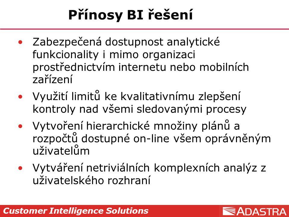 Customer Intelligence Solutions Přínosy BI řešení Zabezpečená dostupnost analytické funkcionality i mimo organizaci prostřednictvím internetu nebo mob