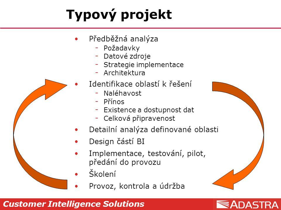 Customer Intelligence Solutions Typový projekt Předběžná analýza  Požadavky  Datové zdroje  Strategie implementace  Architektura Identifikace obla