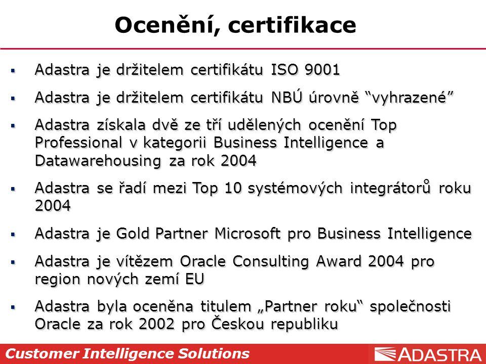 """Customer Intelligence Solutions Ocenění, certifikace  Adastra je držitelem certifikátu ISO 9001  Adastra je držitelem certifikátu NBÚ úrovně """"vyhraz"""