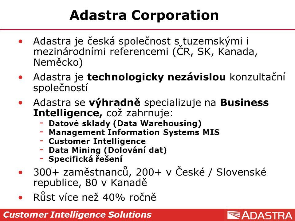 Customer Intelligence Solutions Adastra Corporation Adastra je česká společnost s tuzemskými i mezinárodními referencemi (ČR, SK, Kanada, Neměcko) Ada