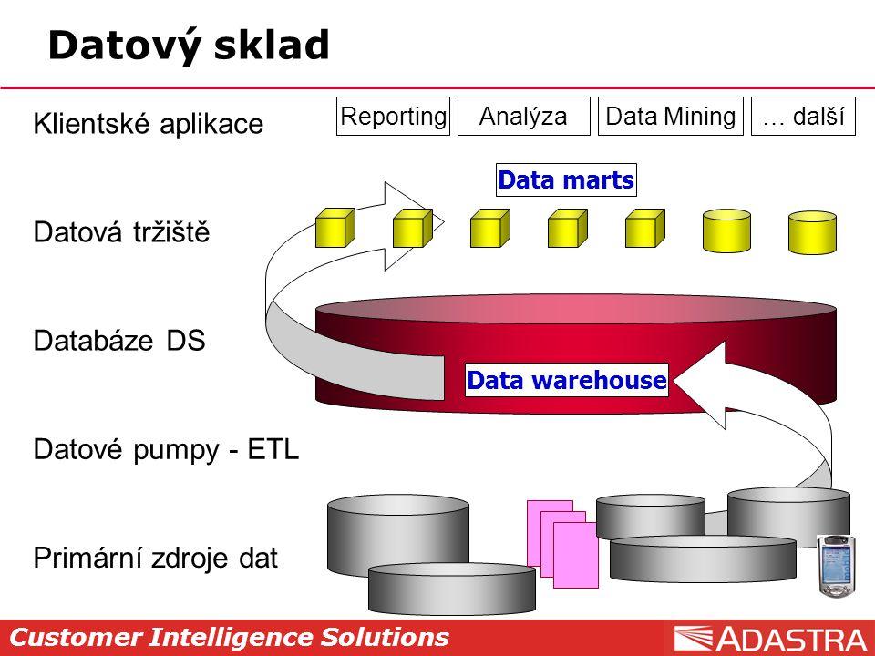 Customer Intelligence Solutions Datový sklad Primární zdroje dat Datové pumpy - ETL Databáze DS Datová tržiště Klientské aplikace ReportingAnalýzaData