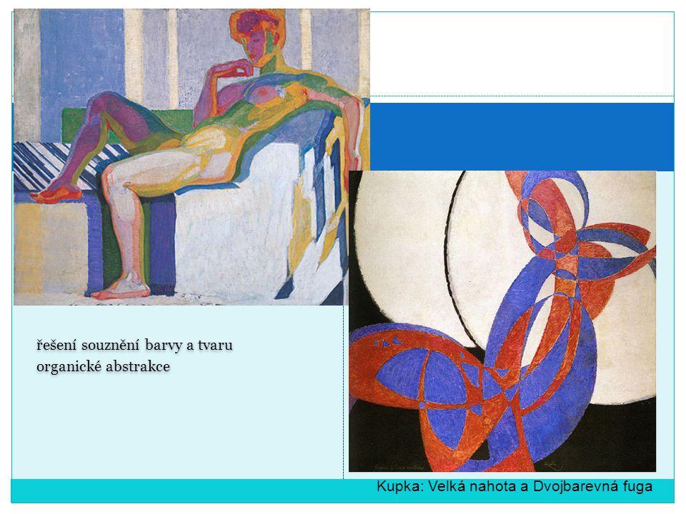 řešení souznění barvy a tvaru organické abstrakce řešení souznění barvy a tvaru organické abstrakce Kupka: Velká nahota a Dvojbarevná fuga