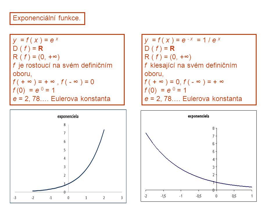 Exponenciální funkce. y = f ( x ) = e x D ( f ) = R R ( f ) = (0, +∞) f je rostoucí na svém definičním oboru, f ( + ∞ ) = + ∞, f ( - ∞ ) = 0 f (0) = e
