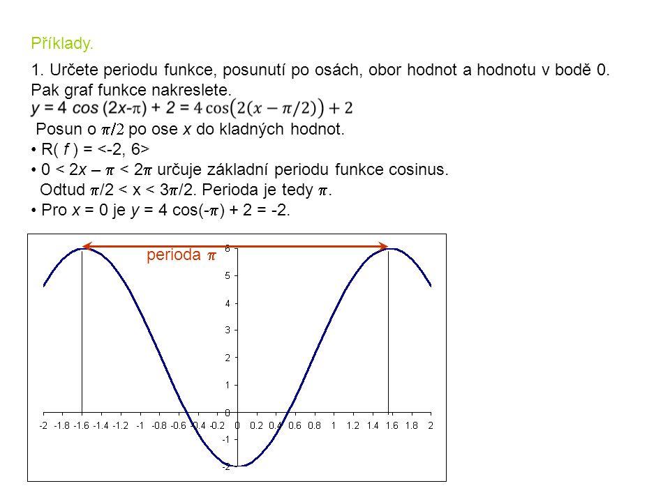 Příklady. 1. Určete periodu funkce, posunutí po osách, obor hodnot a hodnotu v bodě 0. Pak graf funkce nakreslete. Posun o  po ose x do kladných ho