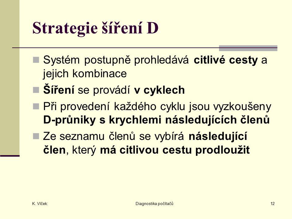 K. Vlček: Diagnostika počítačů12 Strategie šíření D Systém postupně prohledává citlivé cesty a jejich kombinace Šíření se provádí v cyklech Při proved