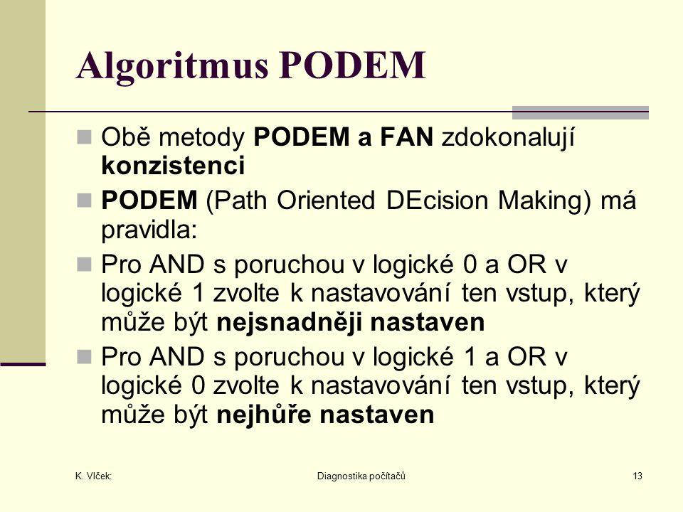 K. Vlček: Diagnostika počítačů13 Algoritmus PODEM Obě metody PODEM a FAN zdokonalují konzistenci PODEM (Path Oriented DEcision Making) má pravidla: Pr