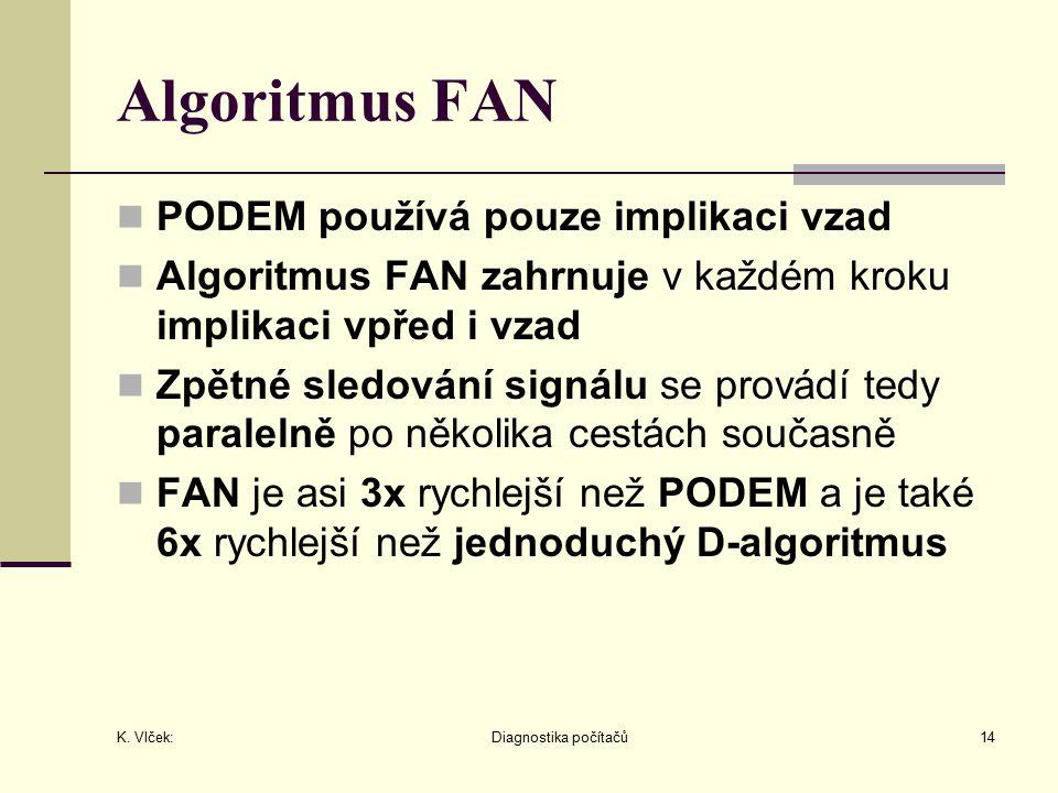 K. Vlček: Diagnostika počítačů14 Algoritmus FAN PODEM používá pouze implikaci vzad Algoritmus FAN zahrnuje v každém kroku implikaci vpřed i vzad Zpětn