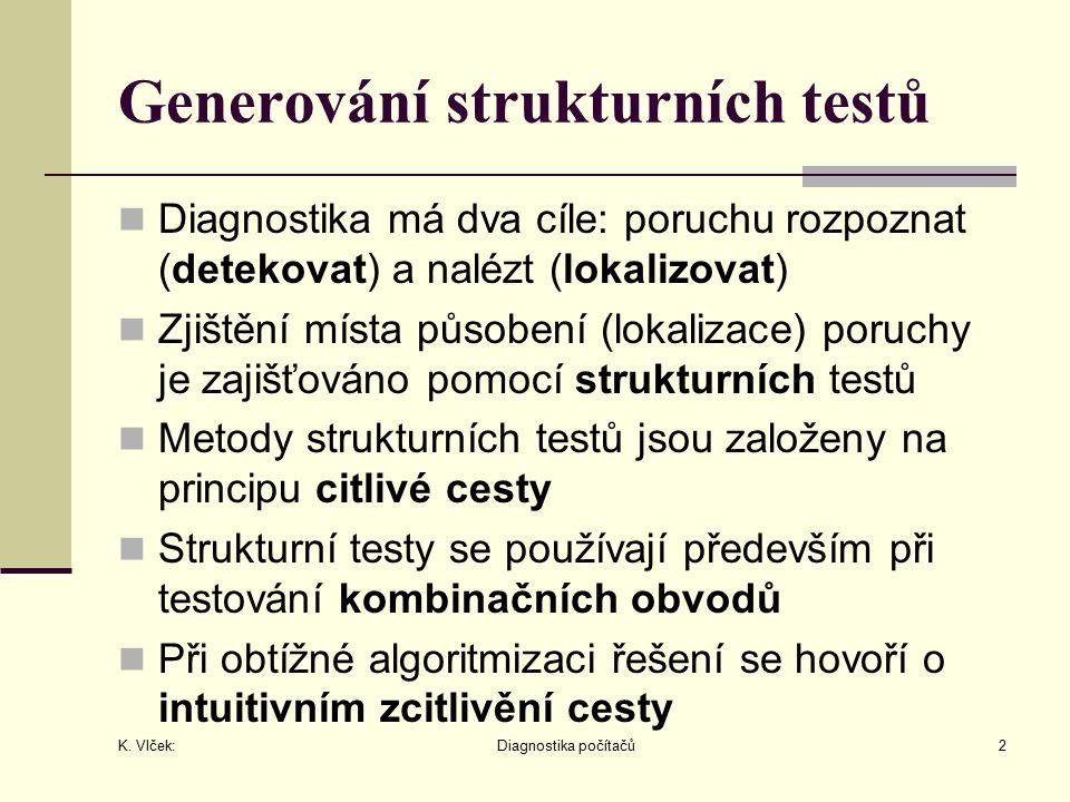 K. Vlček: Diagnostika počítačů2 Generování strukturních testů Diagnostika má dva cíle: poruchu rozpoznat (detekovat) a nalézt (lokalizovat) Zjištění m