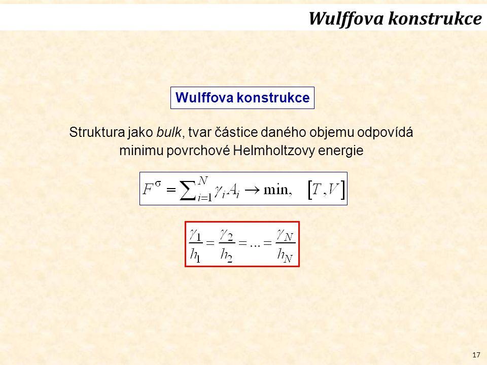 17 Wulffova konstrukce Struktura jako bulk, tvar částice daného objemu odpovídá minimu povrchové Helmholtzovy energie Wulffova konstrukce