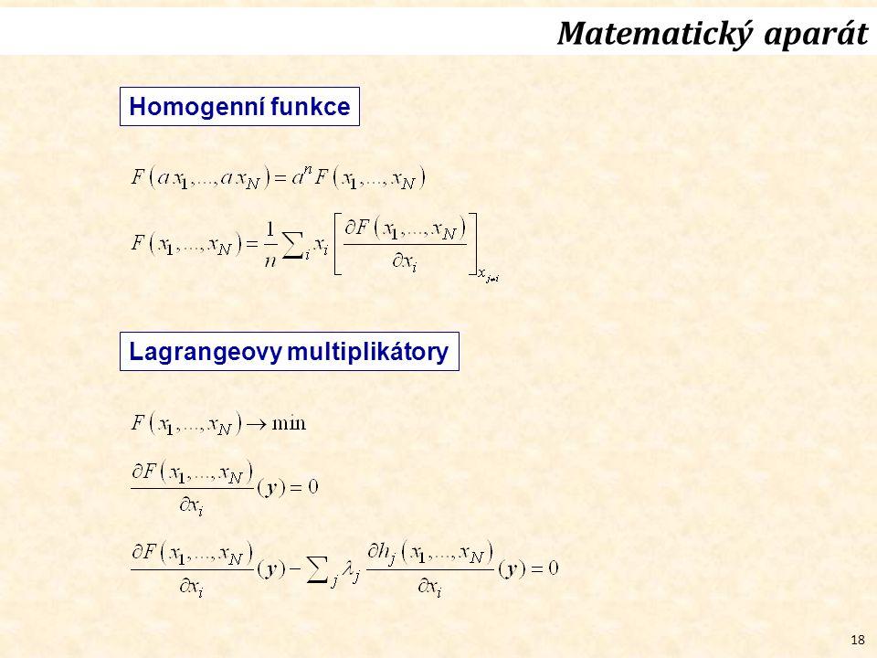 18 Matematický aparát Homogenní funkce Lagrangeovy multiplikátory