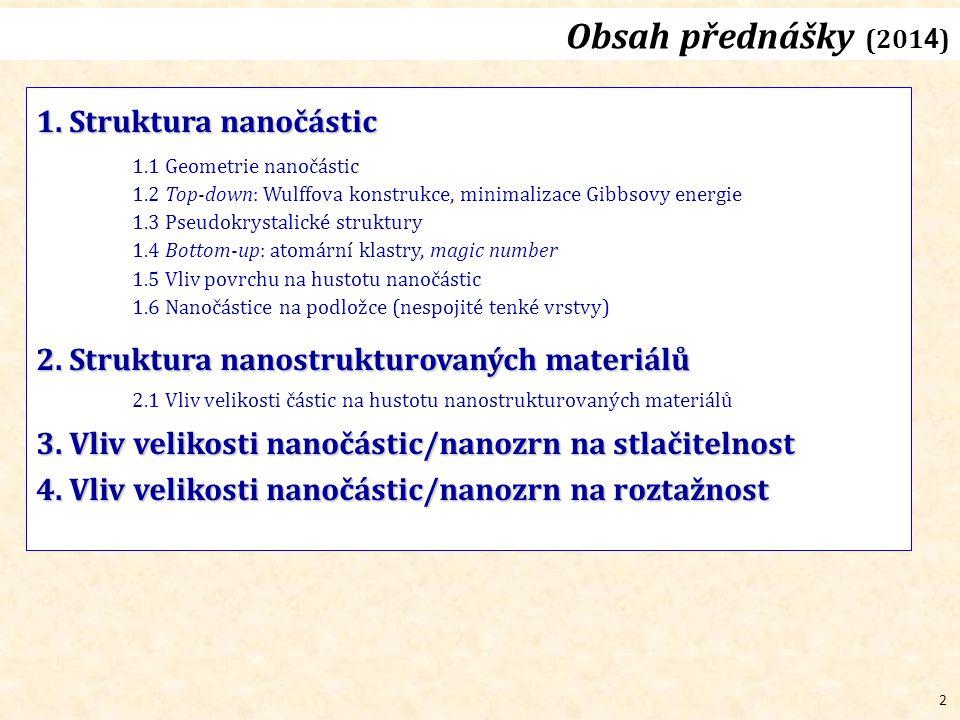 2 Obsah přednášky (201 4 ) 1. Struktura nanočástic 1.1 Geometrie nanočástic 1.2 Top-down: Wulffova konstrukce, minimalizace Gibbsovy energie 1.3 Pseud