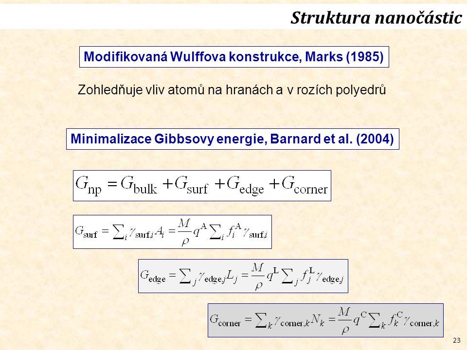 23 Struktura nanočástic Modifikovaná Wulffova konstrukce, Marks (1985) Zohledňuje vliv atomů na hranách a v rozích polyedrů Minimalizace Gibbsovy energie, Barnard et al.