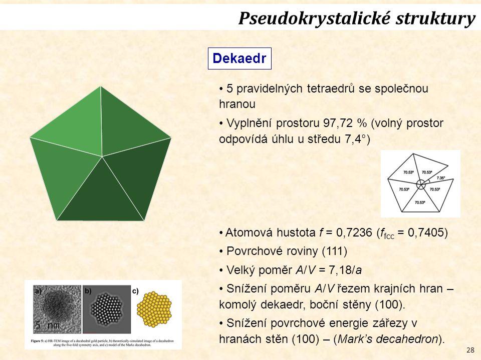 28 Pseudokrystalické struktury Dekaedr 5 pravidelných tetraedrů se společnou hranou Vyplnění prostoru 97,72 % (volný prostor odpovídá úhlu u středu 7,4°) Atomová hustota f = 0,7236 (f fcc = 0,7405) Povrchové roviny (111) Velký poměr A/V = 7,18/a Snížení poměru A/V řezem krajních hran – komolý dekaedr, boční stěny (100).