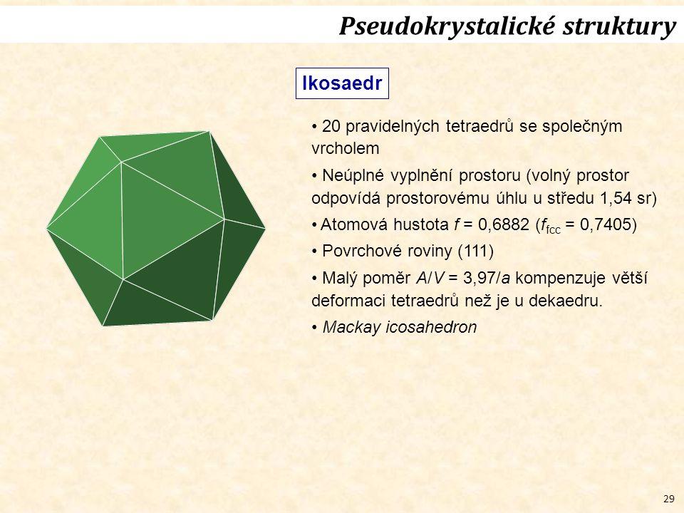 29 Pseudokrystalické struktury Ikosaedr 20 pravidelných tetraedrů se společným vrcholem Neúplné vyplnění prostoru (volný prostor odpovídá prostorovému úhlu u středu 1,54 sr) Atomová hustota f = 0,6882 (f fcc = 0,7405) Povrchové roviny (111) Malý poměr A/V = 3,97/a kompenzuje větší deformaci tetraedrů než je u dekaedru.