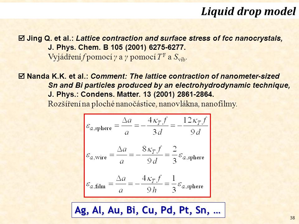 38  Jing Q.et al.: Lattice contraction and surface stress of fcc nanocrystals, J.