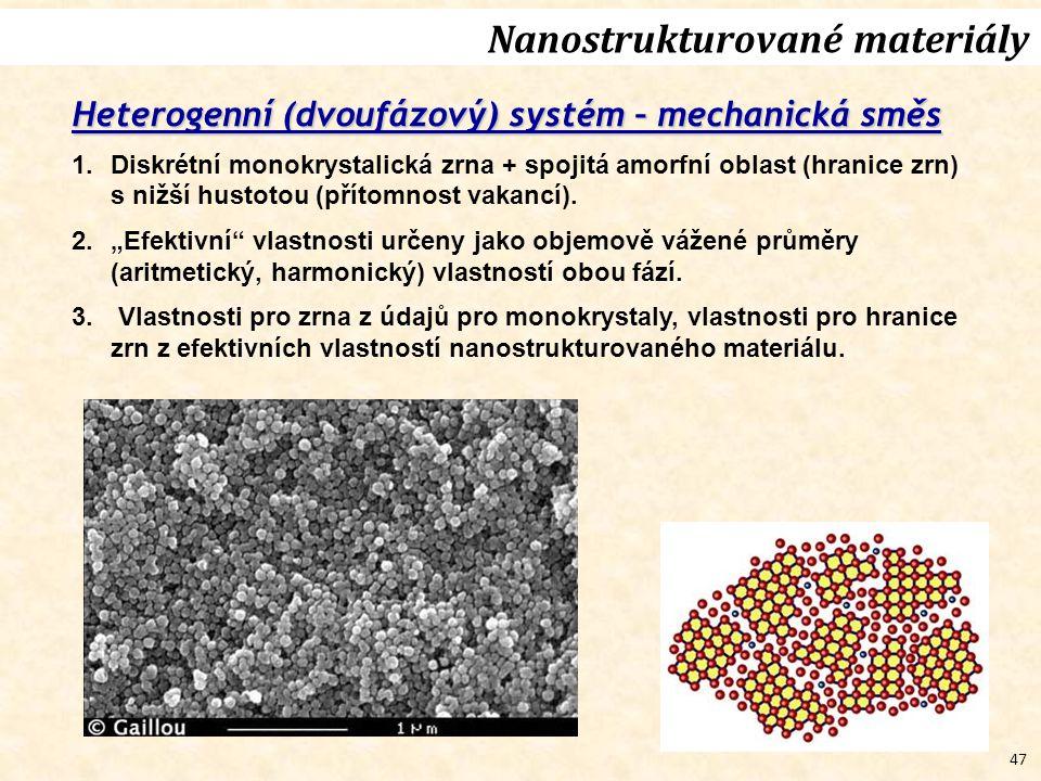 47 Heterogenní (dvoufázový) systém – mechanická směs 1.Diskrétní monokrystalická zrna + spojitá amorfní oblast (hranice zrn) s nižší hustotou (přítomnost vakancí).