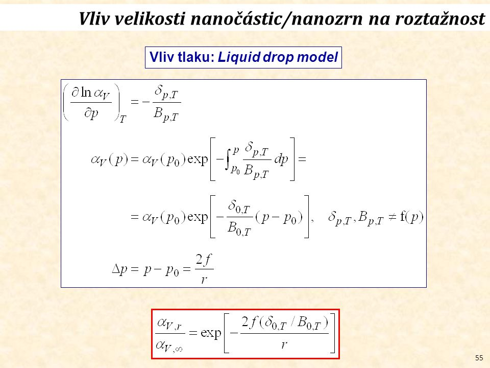 55 Vliv velikosti nanočástic/nanozrn na roztažnost Vliv tlaku: Liquid drop model