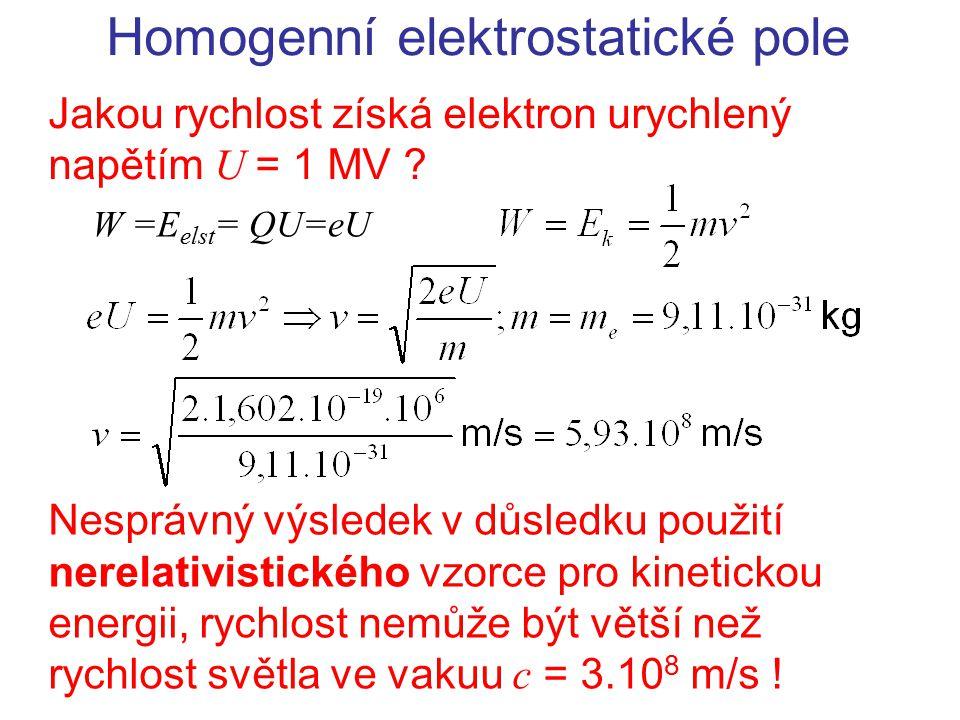 Homogenní elektrostatické pole Jakou rychlost získá elektron urychlený napětím U = 1 MV ? W =E elst = QU=eU Nesprávný výsledek v důsledku použití nere