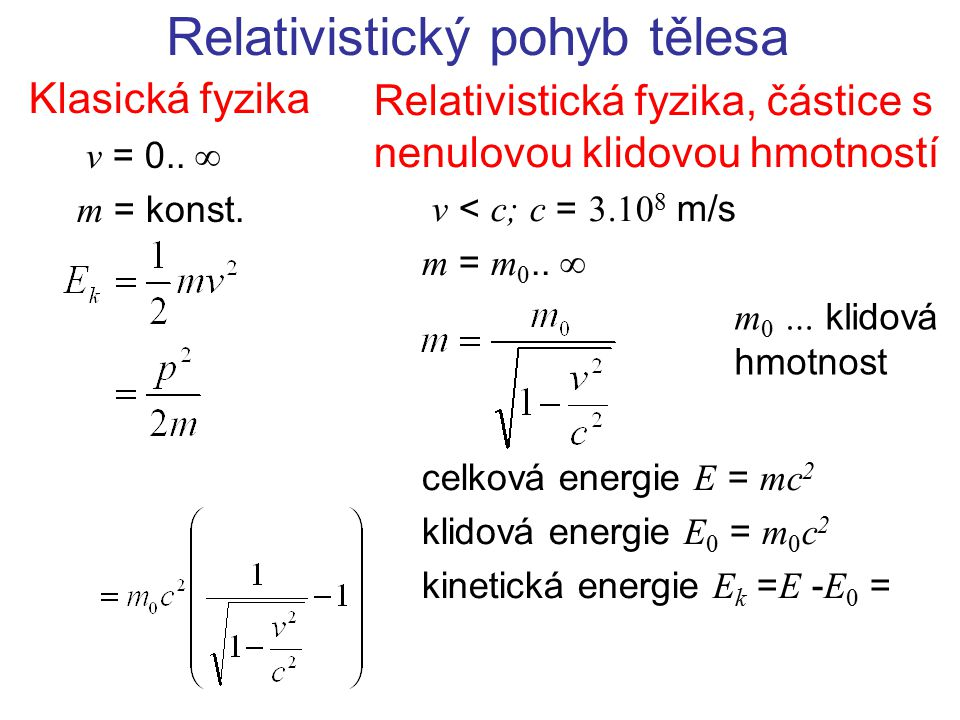 Relativistický pohyb tělesa Klasická fyzika v = 0..  m = konst. Relativistická fyzika, částice s nenulovou klidovou hmotností v < c; c = 3.10 8 m/s