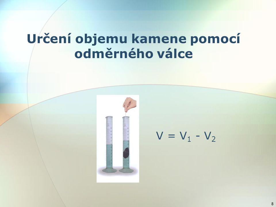 8 Určení objemu kamene pomocí odměrného válce V = V 1 - V 2