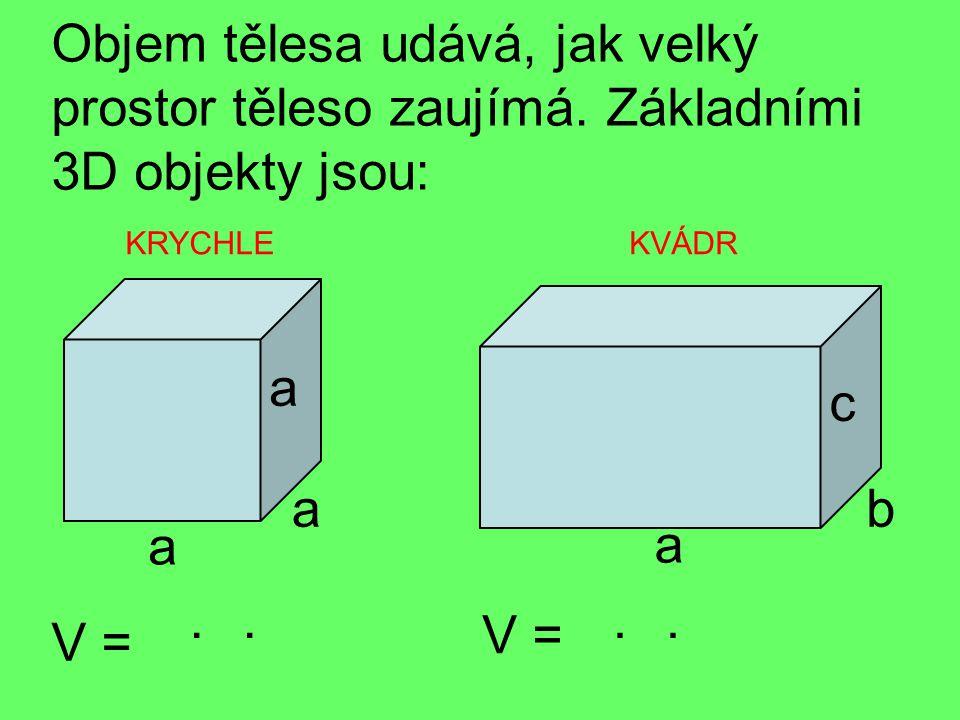 S krychlí souvisí i název základní jednotky objemu: 1m 3 … 1 krychlový metr - dm 3, cm 3, mm 3 a třeba i km 3 1m V =..