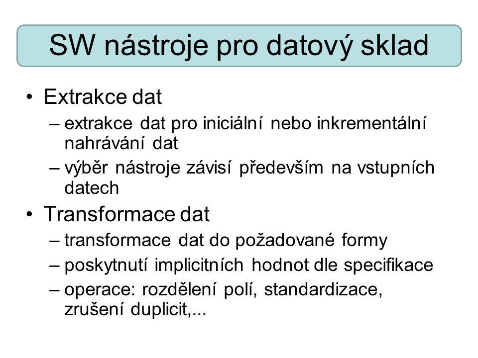 SW nástroje pro datový sklad Extrakce dat –extrakce dat pro iniciální nebo inkrementální nahrávání dat –výběr nástroje závisí především na vstupních d