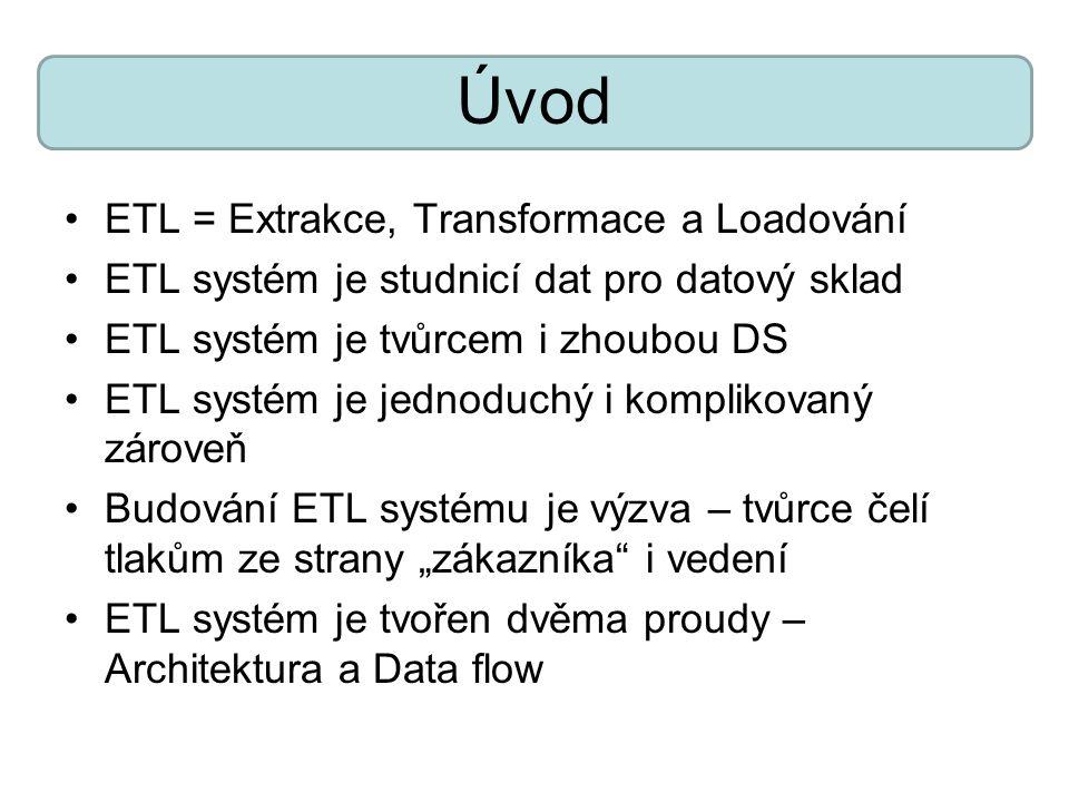 Úvod ETL = Extrakce, Transformace a Loadování ETL systém je studnicí dat pro datový sklad ETL systém je tvůrcem i zhoubou DS ETL systém je jednoduchý