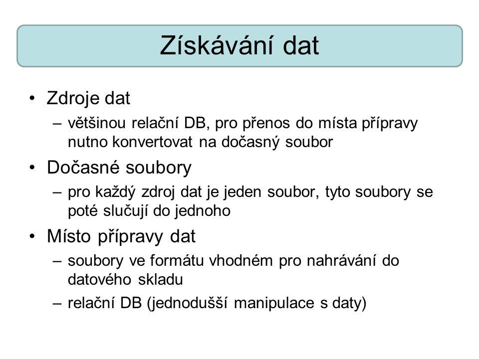 Získávání dat Zdroje dat –většinou relační DB, pro přenos do místa přípravy nutno konvertovat na dočasný soubor Dočasné soubory –pro každý zdroj dat j