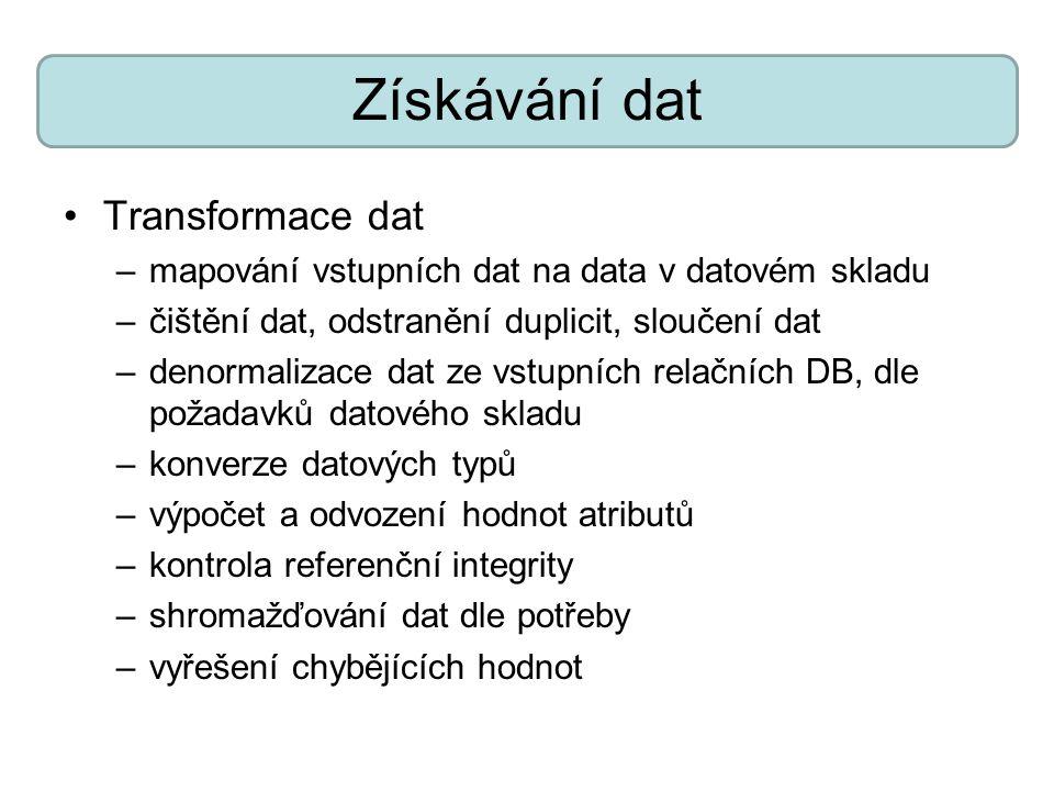 Získávání dat Transformace dat –mapování vstupních dat na data v datovém skladu –čištění dat, odstranění duplicit, sloučení dat –denormalizace dat ze