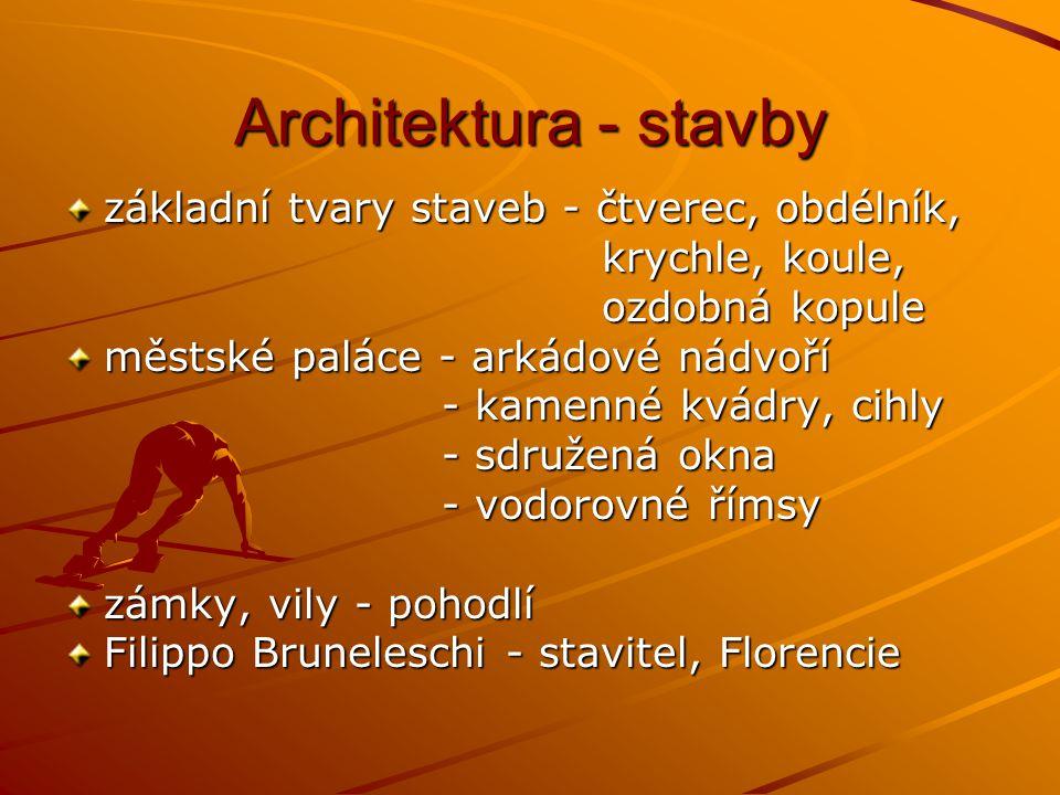 Architektura - stavby základní tvary staveb - čtverec, obdélník, krychle, koule, krychle, koule, ozdobná kopule ozdobná kopule městské paláce - arkádové nádvoří - kamenné kvádry, cihly - kamenné kvádry, cihly - sdružená okna - sdružená okna - vodorovné římsy - vodorovné římsy zámky, vily - pohodlí Filippo Bruneleschi - stavitel, Florencie