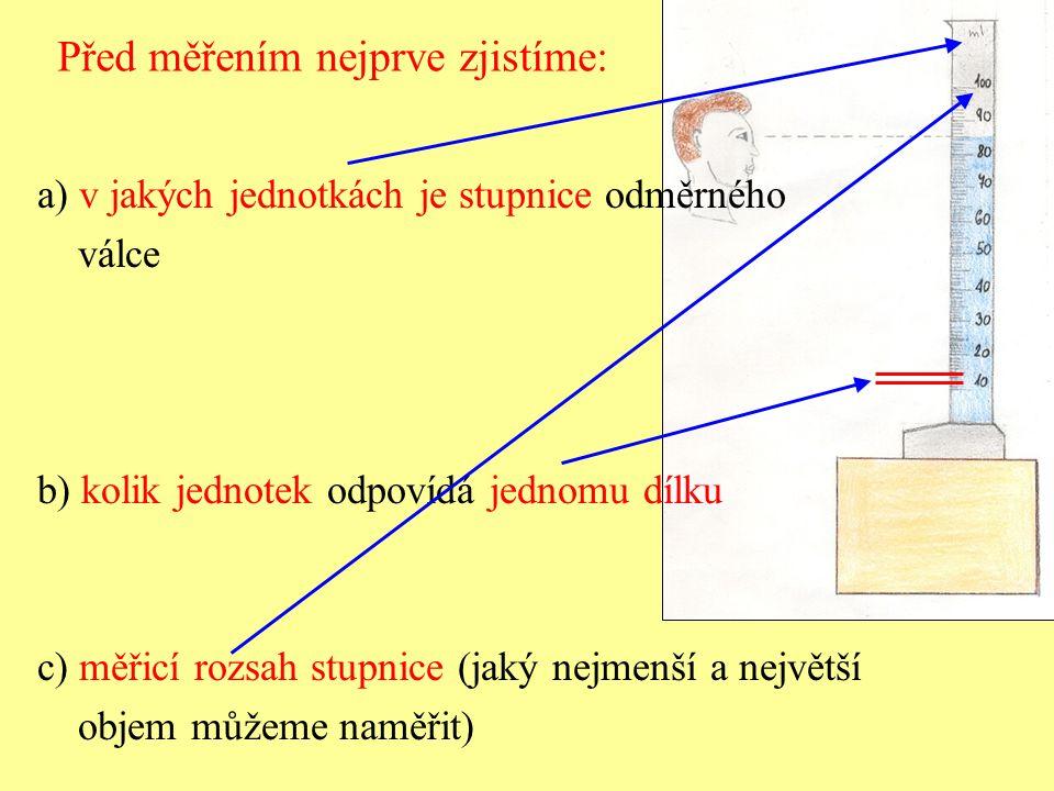 Před měřením nejprve zjistíme: a) v jakých jednotkách je stupnice odměrného válce b) kolik jednotek odpovídá jednomu dílku c) měřicí rozsah stupnice (