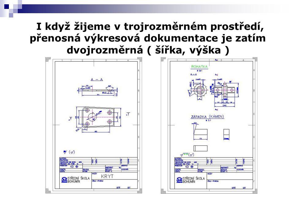 I když žijeme v trojrozměrném prostředí, přenosná výkresová dokumentace je zatím dvojrozměrná ( šířka, výška )