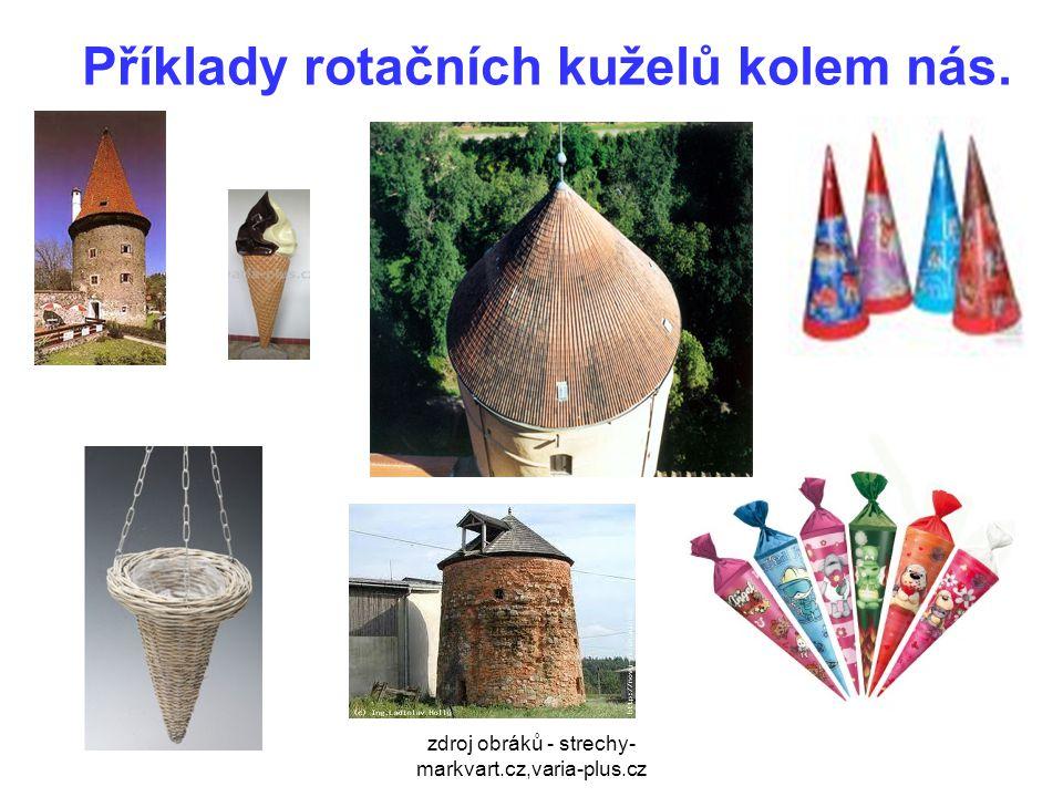 zdroj obráků - strechy- markvart.cz,varia-plus.cz Příklady rotačních kuželů kolem nás.