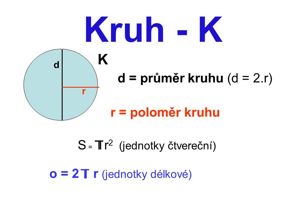 Kruh - K K d r d = průměr kruhu (d = 2.r) r = poloměr kruhu S = r 2 (jednotky čtvereční) o = 2 r (jednotky délkové)