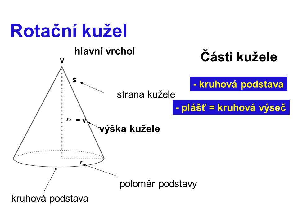 Rotační kužel kruhová podstava poloměr podstavy hlavní vrchol V strana kužele s Části kužele - kruhová podstava - plášť = kruhová výseč = v výška kužele
