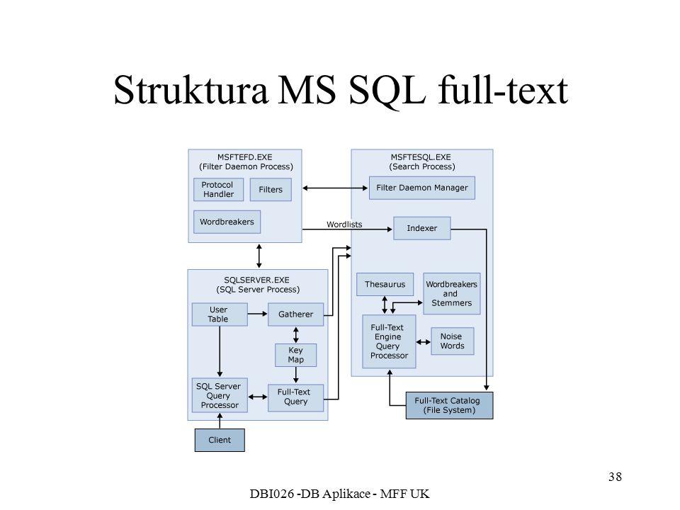 DBI026 -DB Aplikace - MFF UK 38 Struktura MS SQL full-text