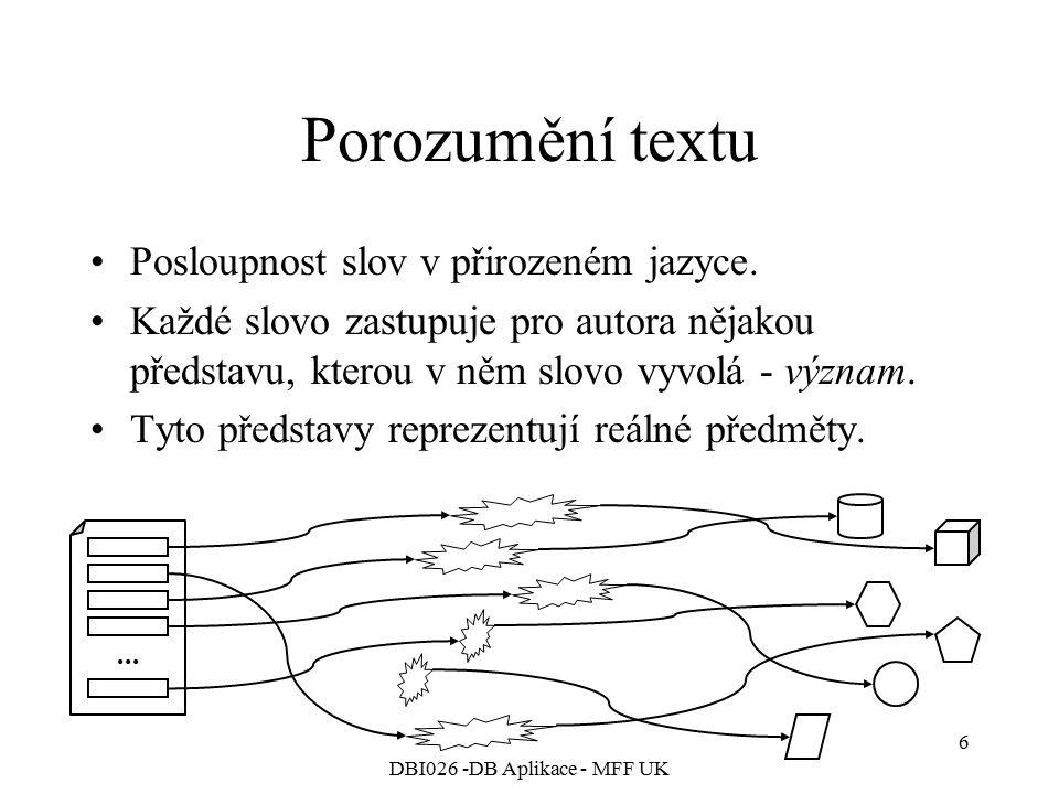 DBI026 -DB Aplikace - MFF UK 6 Porozumění textu Posloupnost slov v přirozeném jazyce. Každé slovo zastupuje pro autora nějakou představu, kterou v něm