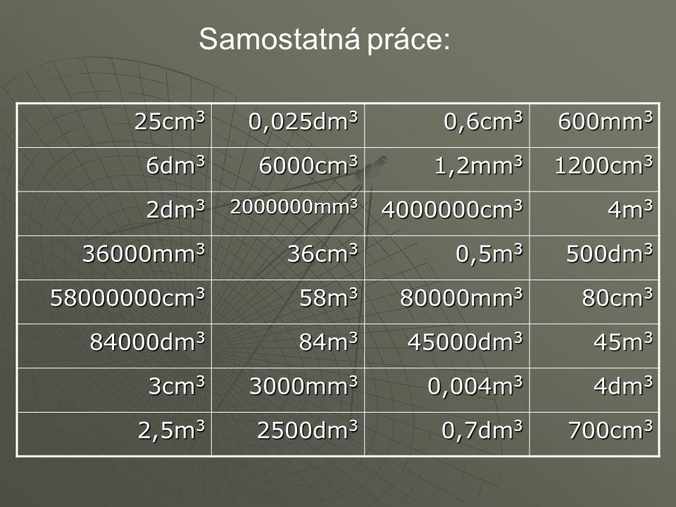 Samostatná práce: 25cm 3 0,025dm 3 0,6cm 3 600mm 3 6dm 3 6000cm 3 1,2mm 3 1200cm 3 2dm 3 2000000mm 3 4000000cm 3 4m 3 36000mm 3 36cm 3 0,5m 3 500dm 3 58000000cm 3 58m 3 80000mm 3 80cm 3 84000dm 3 84m 3 45000dm 3 45m 3 3cm 3 3000mm 3 0,004m 3 4dm 3 2,5m 3 2500dm 3 0,7dm 3 700cm 3
