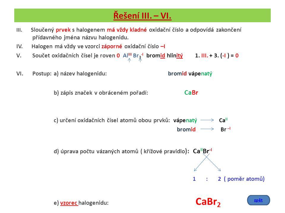 Řešení III. – VI. III. Sloučený prvek s halogenem má vždy kladné oxidační číslo a odpovídá zakončení přídavného jména názvu halogenidu. IV. Halogen má