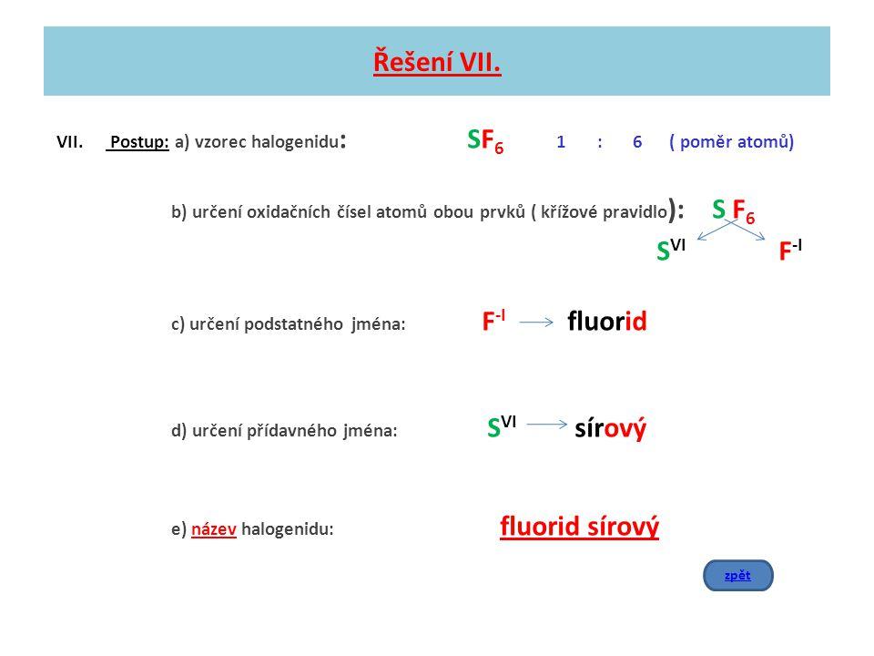 Řešení VII. VII. Postup: a) vzorec halogenidu : SF 6 1 : 6 ( poměr atomů) b) určení oxidačních čísel atomů obou prvků ( křížové pravidlo ): S F 6 S VI