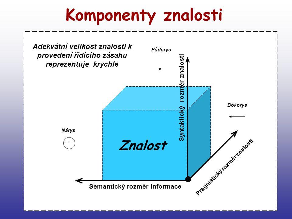 7 Komponenty znalosti Znalost Sémantický rozměr informace Půdorys Nárys Bokorys Pragmatický rozměr znalosti Adekvátní velikost znalosti k provedení řídícího zásahu reprezentuje krychle Syntaktický rozměr znalosti