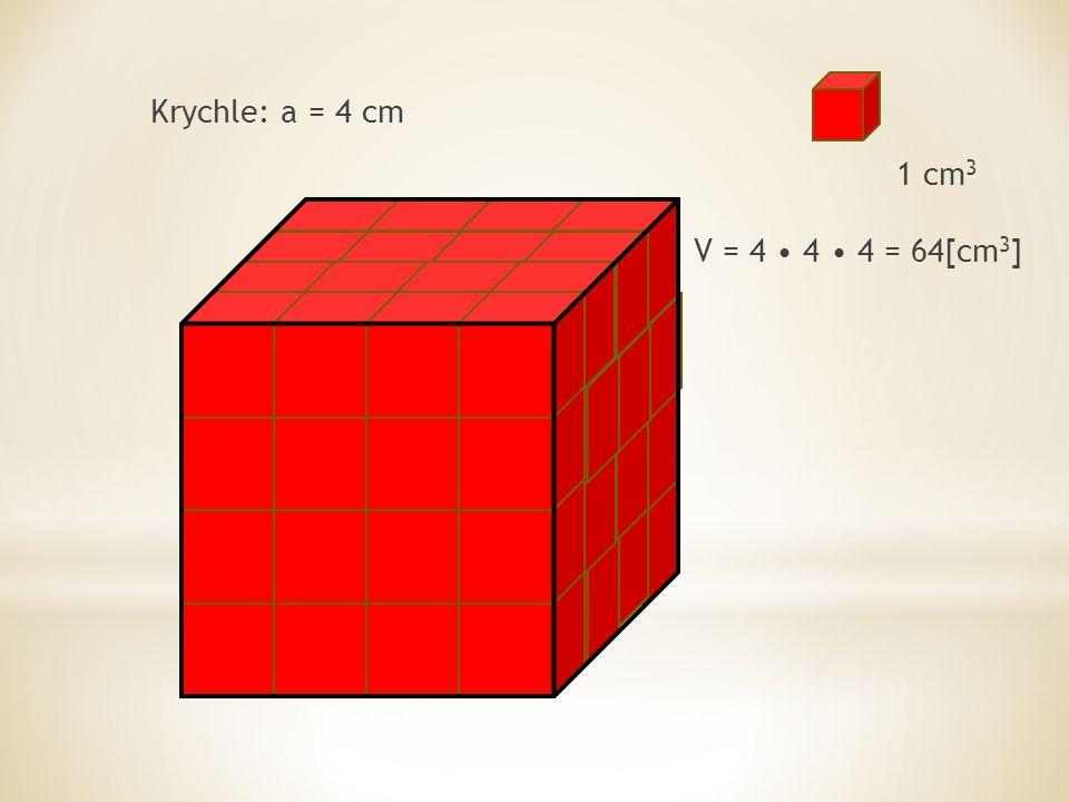 Krychle: a = 4 cm 1 cm 3 V = 4 4 4 = 64[cm 3 ]