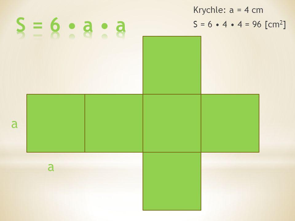 a a Krychle: a = 4 cm S = 6 4 4 = 96 [cm 2 ]