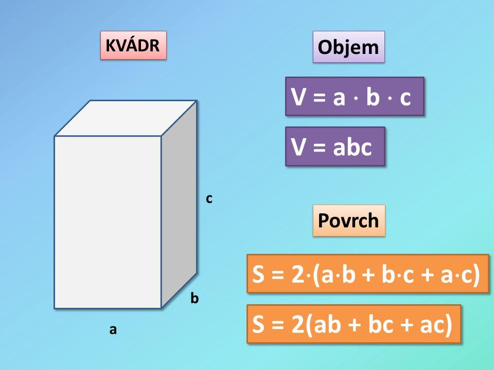 KVÁDR a b c Objem Povrch V = a  b  c S = 2  (a  b + b  c + a  c) V = abc S = 2(ab + bc + ac)