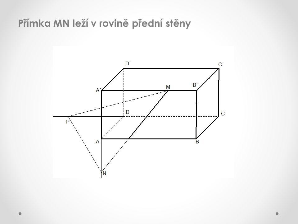 Přímka MN leží v rovině přední stěny