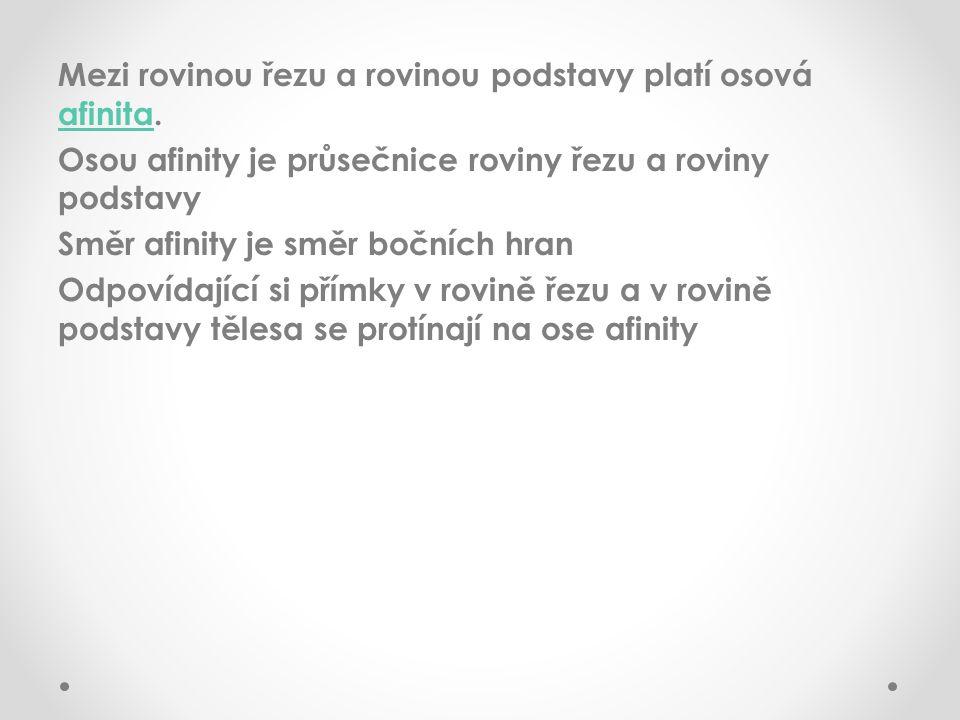 Mezi rovinou řezu a rovinou podstavy platí osová afinita. afinita Osou afinity je průsečnice roviny řezu a roviny podstavy Směr afinity je směr bočníc