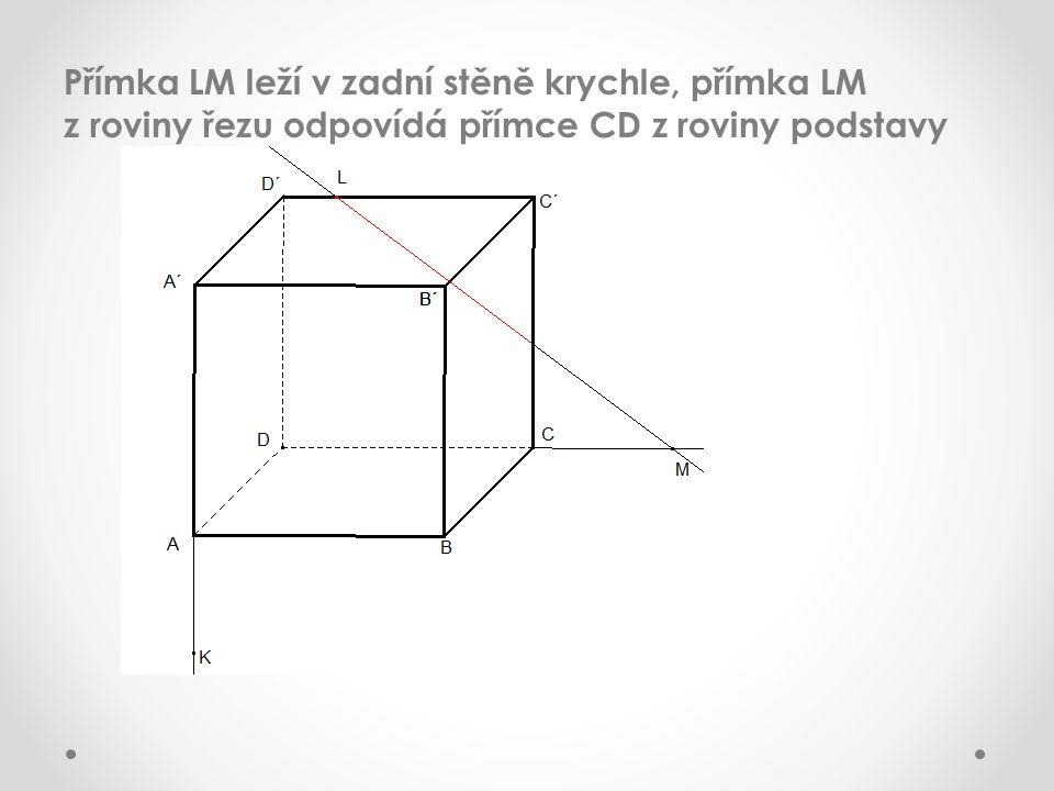 Přímka LM leží v zadní stěně krychle, přímka LM z roviny řezu odpovídá přímce CD z roviny podstavy