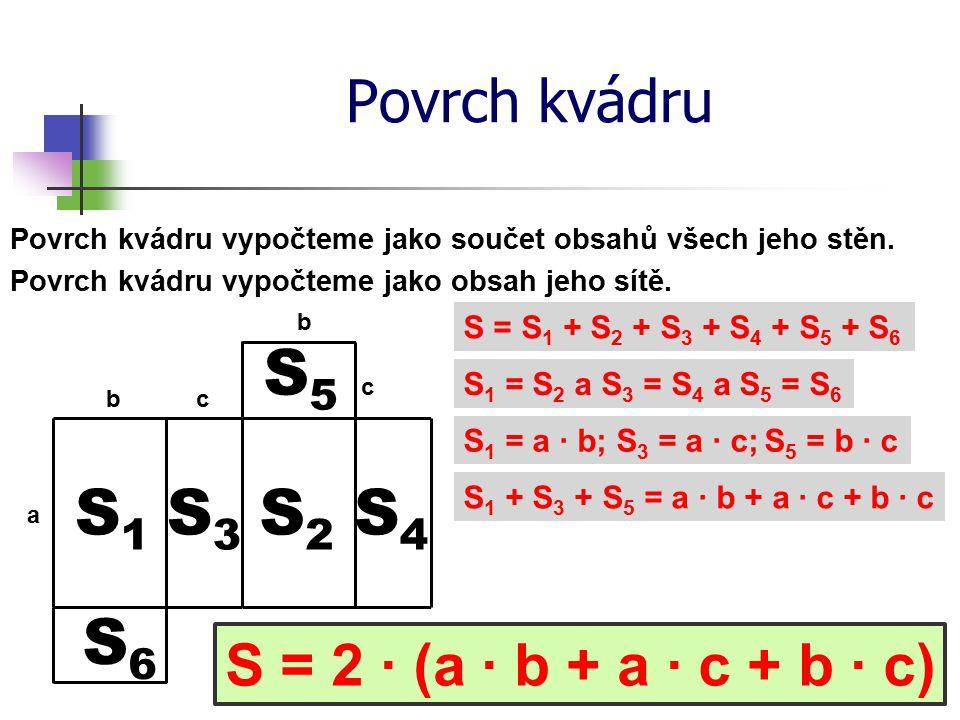 Povrch kvádru Povrch kvádru vypočteme jako součet obsahů všech jeho stěn. Povrch kvádru vypočteme jako obsah jeho sítě. S = S 1 + S 2 + S 3 + S 4 + S