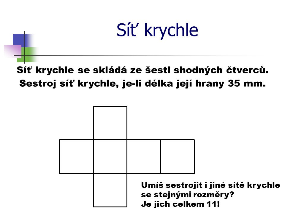Síť krychle Síť krychle se skládá ze šesti shodných čtverců. Sestroj síť krychle, je-li délka její hrany 35 mm. Umíš sestrojit i jiné sítě krychle se