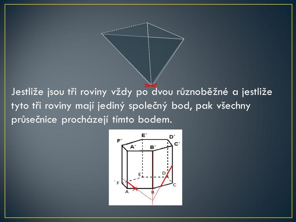 Jestliže jsou tři roviny vždy po dvou různoběžné a jestliže tyto tři roviny mají jediný společný bod, pak všechny průsečnice procházejí tímto bodem.